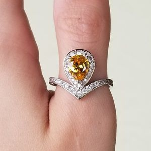 Jewelry - 🆕️Sterling Silver- Yellow & White Sapphire Ring